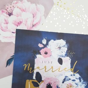 Just Married floral cake – card