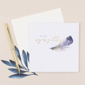 With Sympathy Feather – card