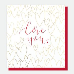 Love You – gold hearts card
