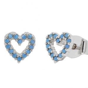 Turquoise hearts stud earrings – (silver plated)