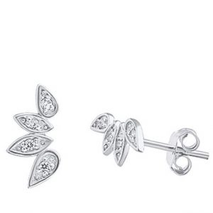 Crystal leaves stud earrings – (silver plated)