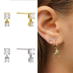CZ double drop stud earrings – (silver plated)