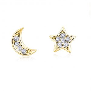 Galaxy mismatched stud earrings – (18K gold plated)