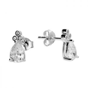 Crystal pear stud earrings – (sterling silver)