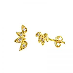 Crystal leaves stud earrings – (gold plated)