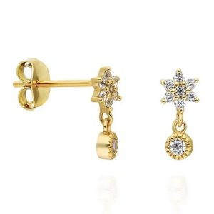 Star mini dangle stud earrings – (18K gold plated)