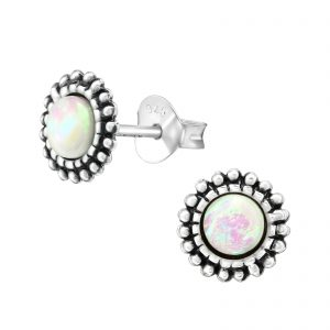 Opal bali stud earrings – (sterling silver)