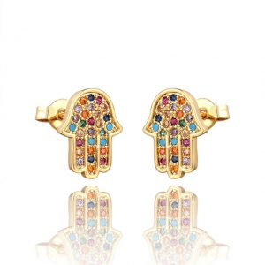 Hamsa rainbow cz stud earrings – (18K gold plated)