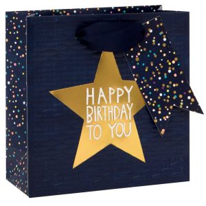 Gold star/Navy – Luxury gift bag (Small)