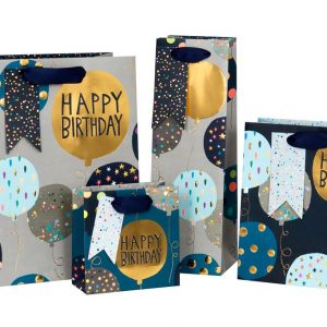 Gold Happy Birthday balloon – Luxury gift bag (Small)
