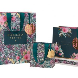 Teal floral confetti – Luxury gift bag (Small)