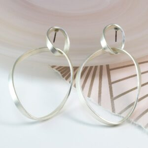 Silver plated double twisted hoop earrings