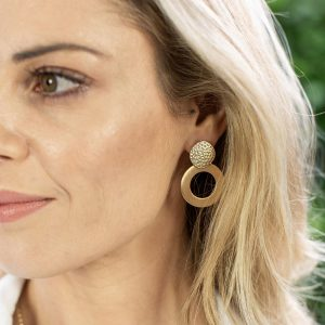 Gold plated hammered disc and circle earrings
