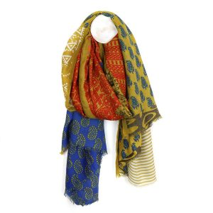 Mustard mix Indian inspired print scarf