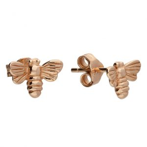 Sterling Silver (Rose Gold Plated) bee stud earrings