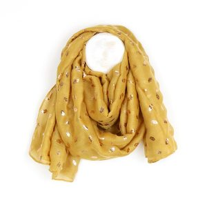 Mustard scarf with rose gold oak leaves