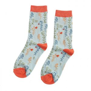 Wild Flowers – Ladies Bamboo socks (duck egg)