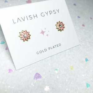 Coral daisies stud earrings (gold plated)