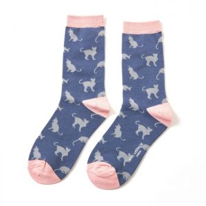 Cats – Ladies Bamboo socks (navy)