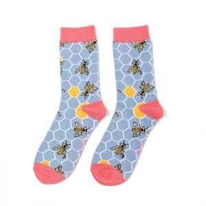 Bee Hive – Ladies Bamboo socks (powder blue)