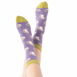 Cute Hedgehogs – Ladies Bamboo socks (dusky purple)