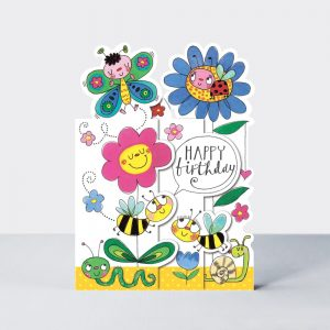 Birthday flowers + insects – card
