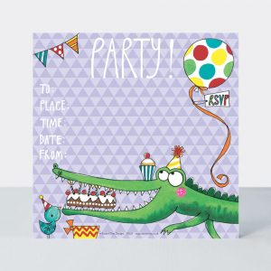 Crocodile party invitations – pack of 8