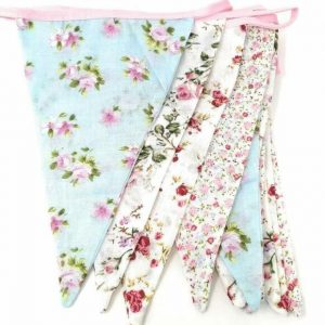 Vintage floral shabby chic fabric bunting – 3.15m